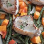 Weeknight 30 minute pork and sweet potato sheet pan