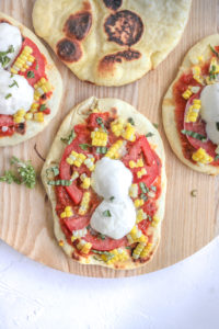 Grilled Summer Corn Tomato Naan Pizza