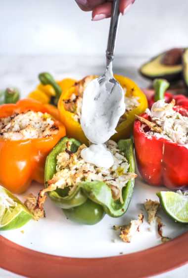 Cauliflower Rice and Ranch Chicken Stuffed Peppers