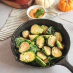 Skillet Brussels Sprouts with Pumpkin Dipping Sauce