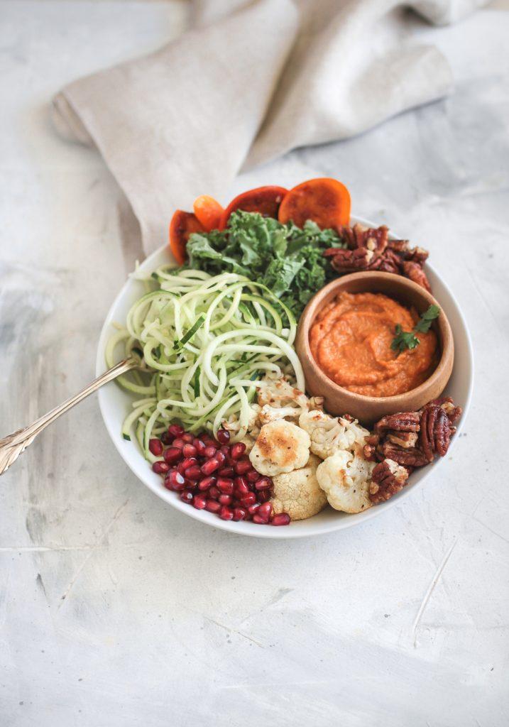Autumn Zucchini Spiral Kale Bowl with Pumpkin Dressing